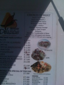 Bad picture of the menu