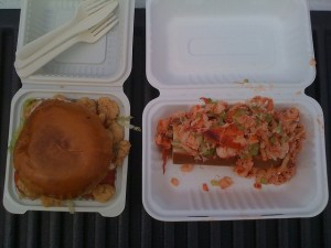 Sam's Food - po'boy on the left, lobster roll on the right