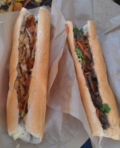 Omininjas Banh Mi - tofu left, steak right